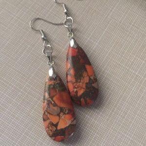 Pretty Orange Sea sediment Jasper Earrings